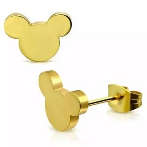 Gold Mickey Mouse Stud Earrings